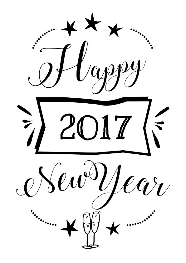 Happy New Year 2018 Quotes : Nieuwjaarskaart Met Pentekening Happy New Year  2017 En Champagne Glazen, Verkriju2026