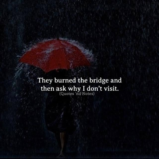 Life Quotes They Burned The Bridge And Then Ask Why I Dont Visit