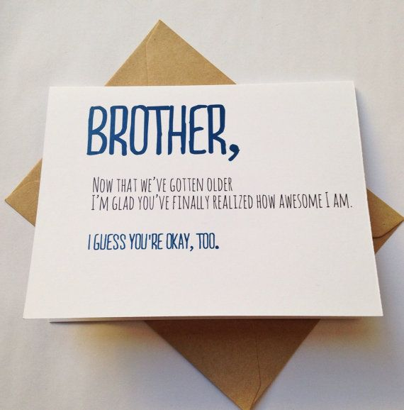 Birthday Quotes Brother Card Brother Birthday Card Funny Card
