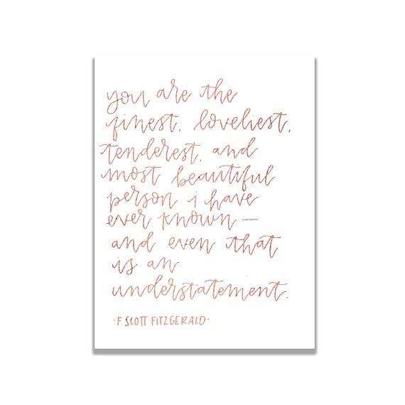 Quotes And Inspiration About Love F. Scott Fitzgerald Love Quote  Greeting Card Valentine39s Day Greeting Card L
